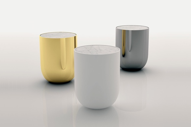 The Bala side table from Sé Collection II is ceramic with a marble top.