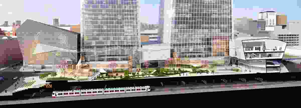 The proposed World Trade Centre Perth would be built over the existing railway.