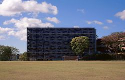 The new building as seen from the playing fields of the Brisbane Boys Grammar School.