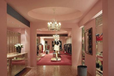 The Oxford Street store has been painted in the perfect Alannah Hill pink with matching Bisazza tiles.