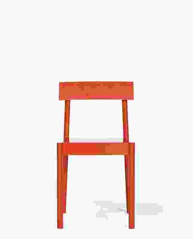 NOMI Woodstack Chair byTomek Archer in red.