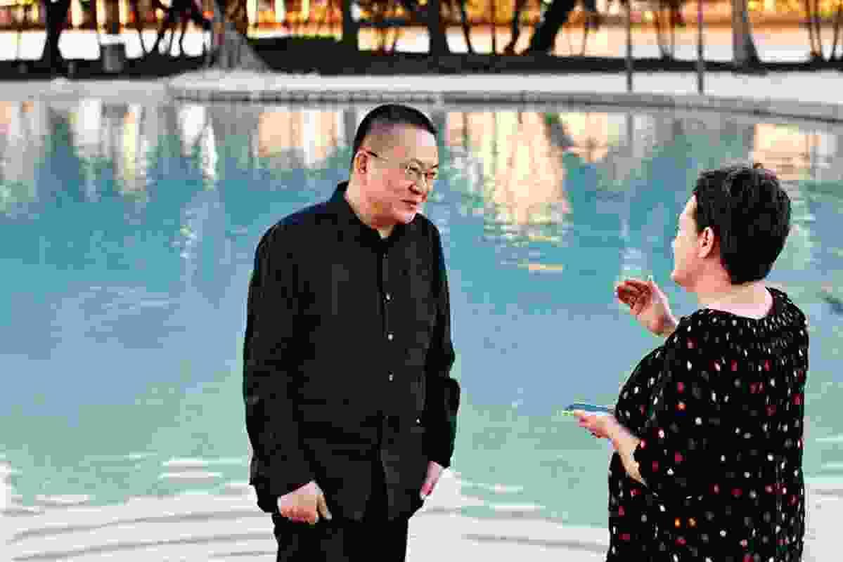 Wang Shu talks with Helen Norrie at Brisbane's artificial beach.