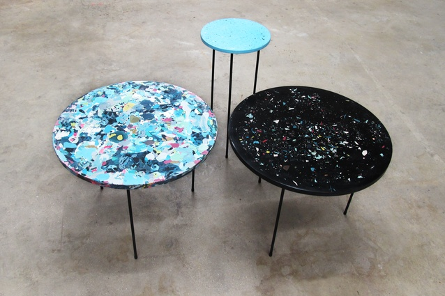 Poured tables by Troels Flensted.