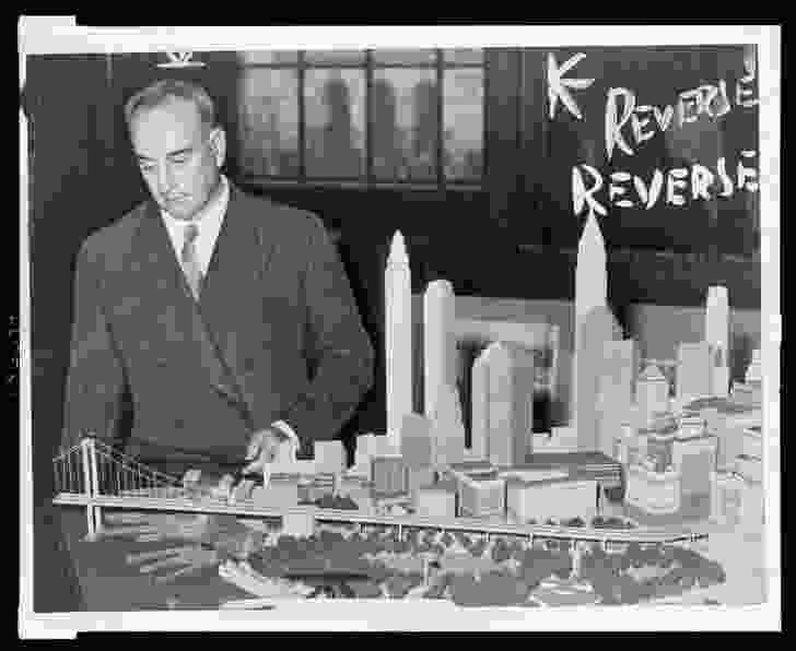 Planner Robert Moses with a model of LOMEX and Manhattan Island.
