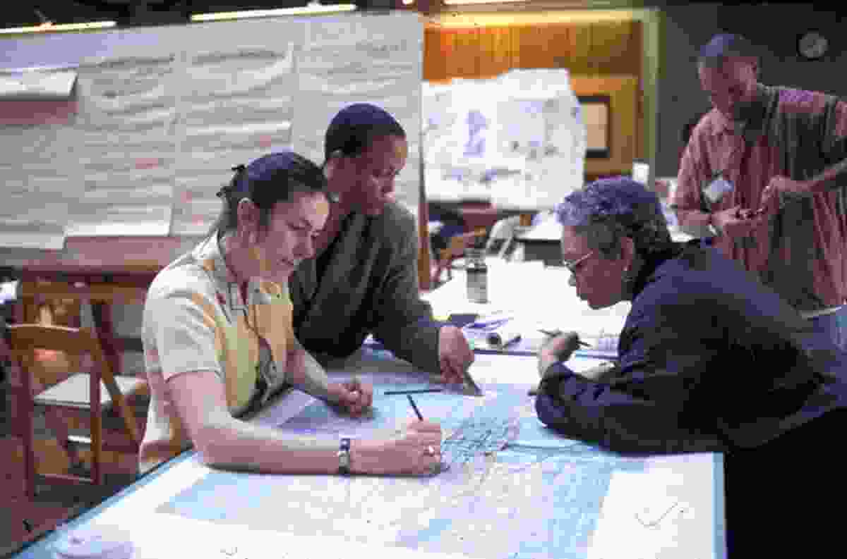 Providing a charrette crit at the University of Washington in 2003.