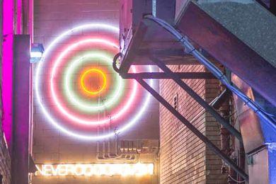 Steenson Varming's neon light installation in Temperance Lane, Sydney CBD.