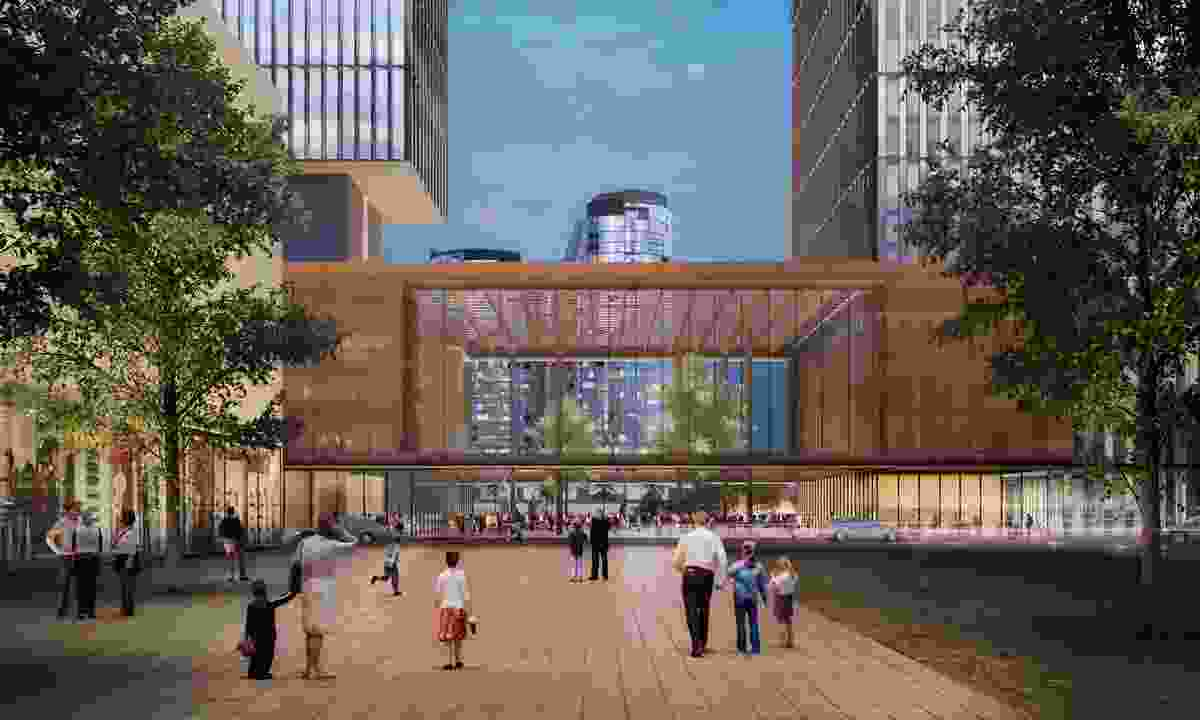 The public plaza at the proposed EQ West development designed by Kerry Hill Architects.