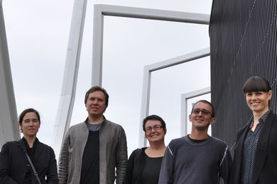 The 2013 National Architecture Awards jury (L—R): Shelley Penn (chair), Ben Hewett, Justine Clark, Richard Hassell and Hannah Tribe on the rooftop of One One One Eagle Street, Brisbane.