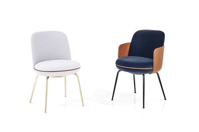 The Merwyn collection for Wittman comprises a chair, a bench and a lounge chair.