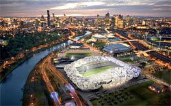 Cox's proposal for Melbourne's Rectangular Pitch Stadium.