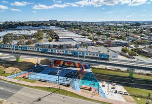 The Caulfield to Dandenong project creates 8.4-kilometres of linear park beneath the now-elevated rail line.