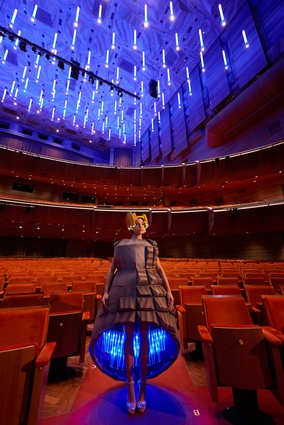 Wearing the City 2015: Hamer Hall (Roy Grounds/ Interior: John Truscott, upgrade by ARM Architecture) by Kia Achilleos and Celina San Jose.