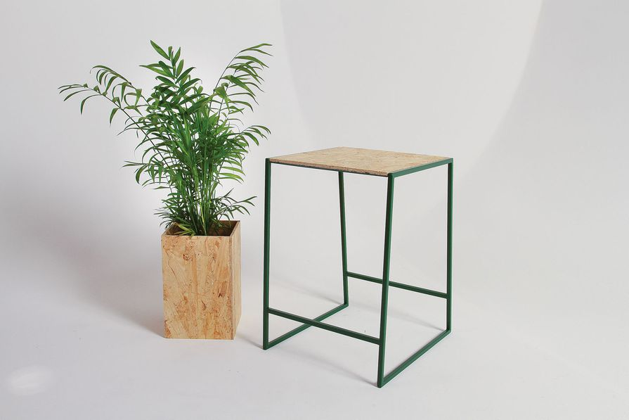 Seat MKI is made from steel and ply and can be used as a stool or bedside table.