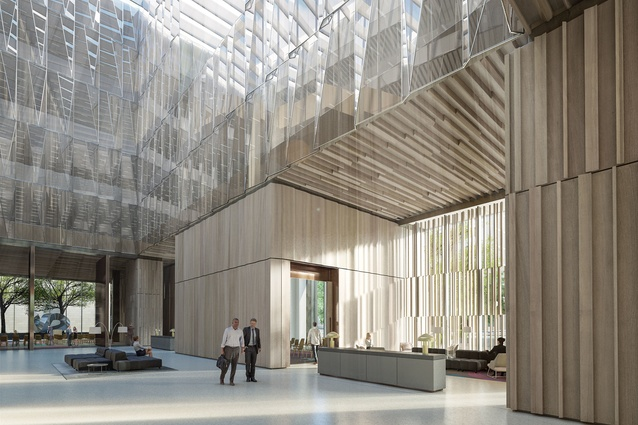 The ground floor public spaces of the proposed Australian embassy building in Washington DC, USA, by Bates Smart will be oriented towards the White House.