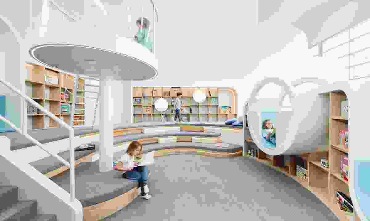 In the upstairs library, children can read in alcoves and enter the imaginative world of stories.