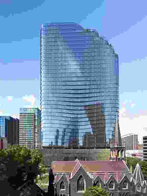 Western elevation of Wesley Place tower by Cox Architecture, under construction.