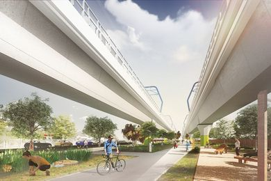 "A linear park designed by Aspect Studios would be created underneath an elevated section of the proposed ""sky rail."""