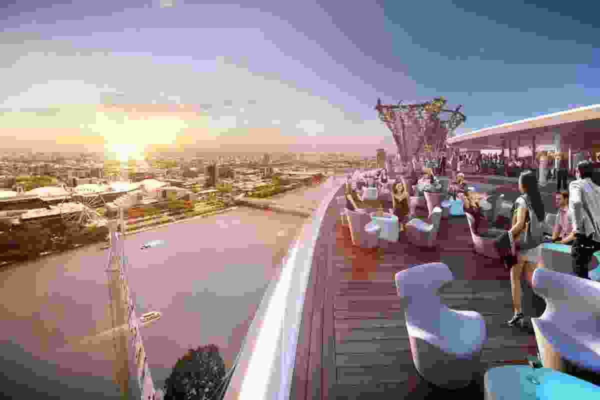 The sky deck in the proposed Queens Wharf Brisbane casino resort redevelopment designed by Cottee Parker Architects.