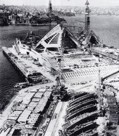 Sydney Opera House under construction. Photograph John Garth/Max Dupain.