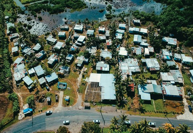 Aerial view of Muanivatu settlement in Suva, Fiji.