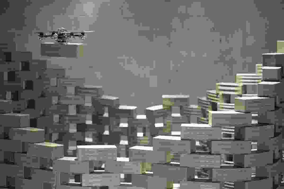 Gramazio & Kohler and Raffaello D'Andrea in cooperation with ETH Zurich has developed Flight Assembled Architecture, where flying robots assemble a scale model in brick using open-source software.