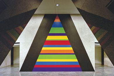 Bars of colour by Sol LeWitt in the entrance lobby of Horizon Apartments, Eric Sierins, 1999. © Sol LeWitt. ARS/Licensed by Viscopy, 2014.