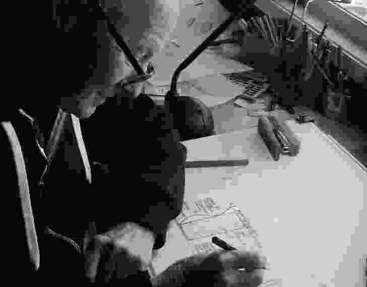 Gabriel at the drawing board, 2016.