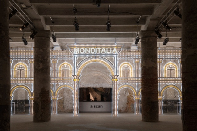 <em>Luminaire</em> is a collaboration between OMA (Rem Koolhaas) and Swarovski. This dazzling 6 x 20-metre archway at the entrance to Monditalia is illuminated with thousands of coloured light bulbs and 15 kilograms of Swarovski Crystal Rocks.