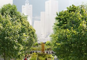 Hassell and SO–IL's proposed elevated inner-city park for Southbank's arts precinct.