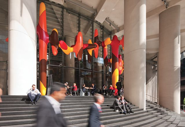 The north-facing steps at 1 Bligh Street (Architectus and Ingenhoven Architects) in Sydney open up the building to the street and provide a public seating area that is warm in winter but cool in summer. Artwork: James Angus, Day In, Day Out, 2011.