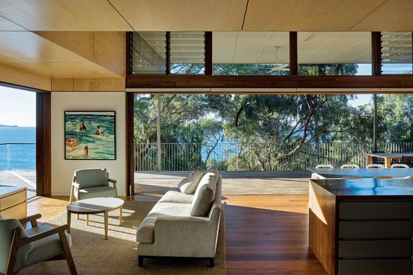 "This family retreat looks north to the headland of Seventeen Seventy on Queensland's ""Discovery Coast."" Artwork: Nicholas Harding."