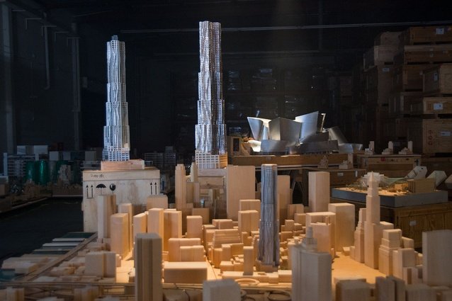 Models of the 8 Spruce Street tower in New York by Frank Gehry.