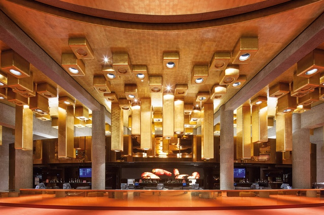 Bold bar lighting is a nod to the influence of John Truscott on the design of Hamer Hall.