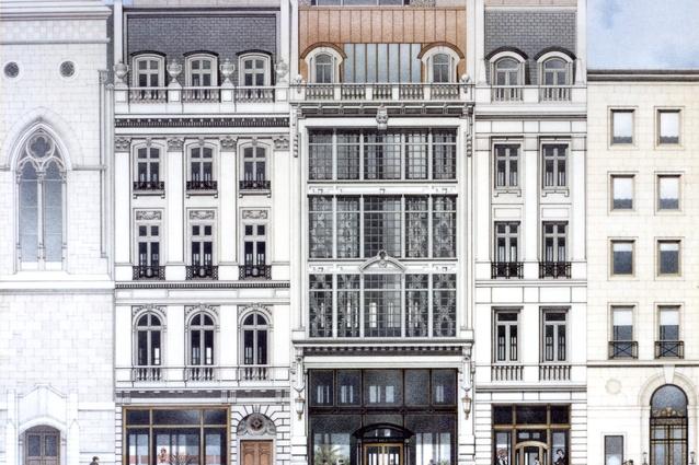 Rendering by Brian Burr. 712 5th Avenue, New York, NY Architects: Kohn Pedersen Fox Associates.