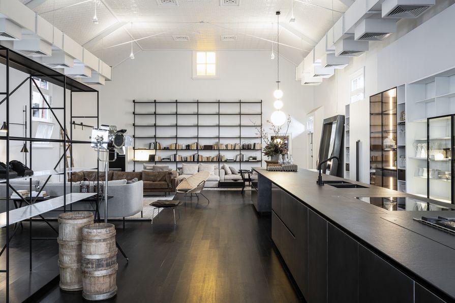 Boffi's Melbourne showroom features original pressed metal ceilings.