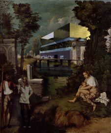 The House of Excess, montaged onto Giorgione's The Tempest.