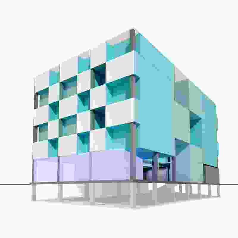 A concept scheme for a multiresidential building.