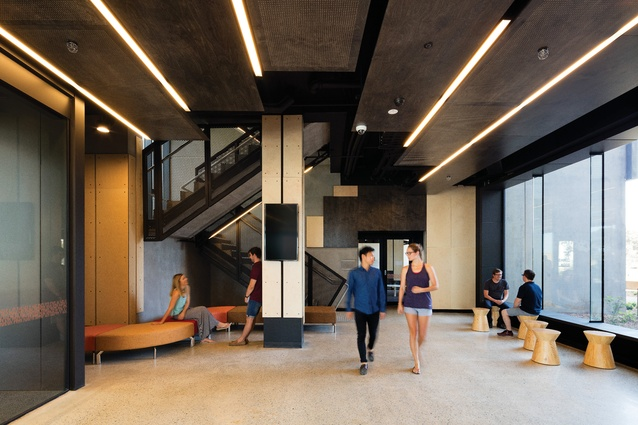 The hall interiors combine touches of bold colour with exposed concrete and natural timber finishes.