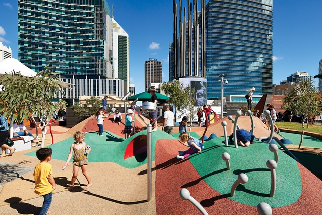 Yagan Square's playspace features colourful mounds that invite exploration and free play; adults can supervise their kids from the nearby amphitheatre