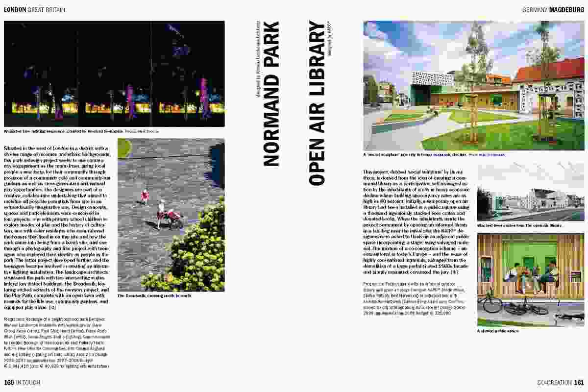 Spread from In Touch, showing the Open Air Library designed by KARO Architecten.