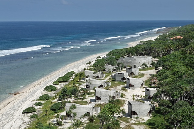 The resort's eighteen villas are dispersed in the dunes along the beach.