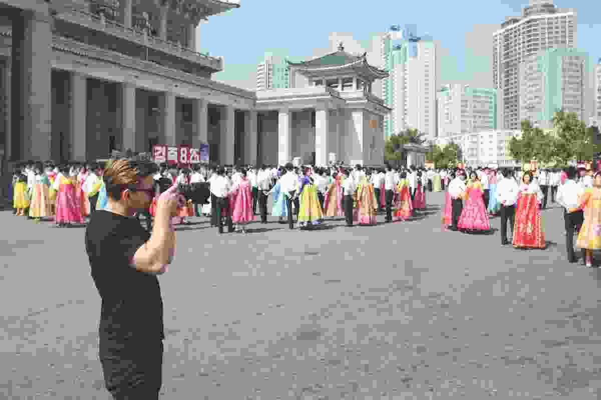 Dave Kulesza in North Korea, behind the scenes.