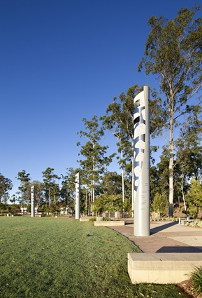 Light and sound towers within the community entertainment precinct.
