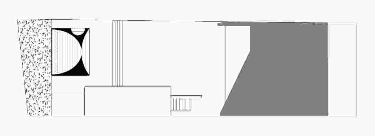 Site plan for Fugitive Structures: Burns will build Crescent House at the rear in front of the hedge.