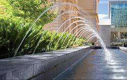 Water is used in a variety of ways along the length of the Terrace. These features are also part of an extensive system for collecting and recycling water. A fine fountain plays in front of the library. Image: John Gollings