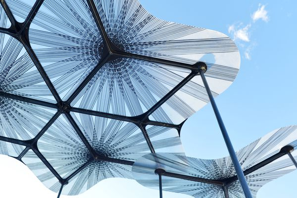 Amanda Levete's design for the second MPavilion features petal-like shapes inspired by a forest canopy.
