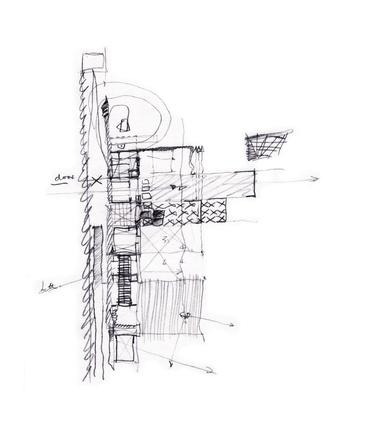 A sketch diagram of Wall House, Shizuoka, Japan by Peter Stutchbury with Keiji Ashizawa Design (2007-09).