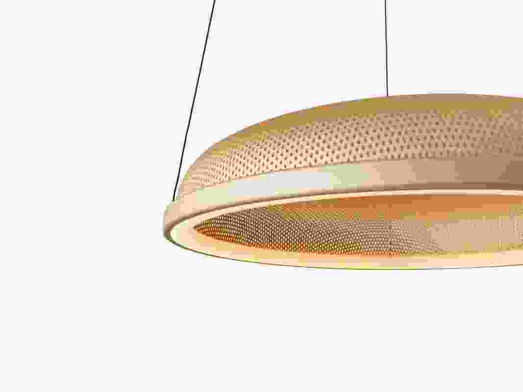 The Mesh Space pendant is constructed around a seamless floating halo of LED light.