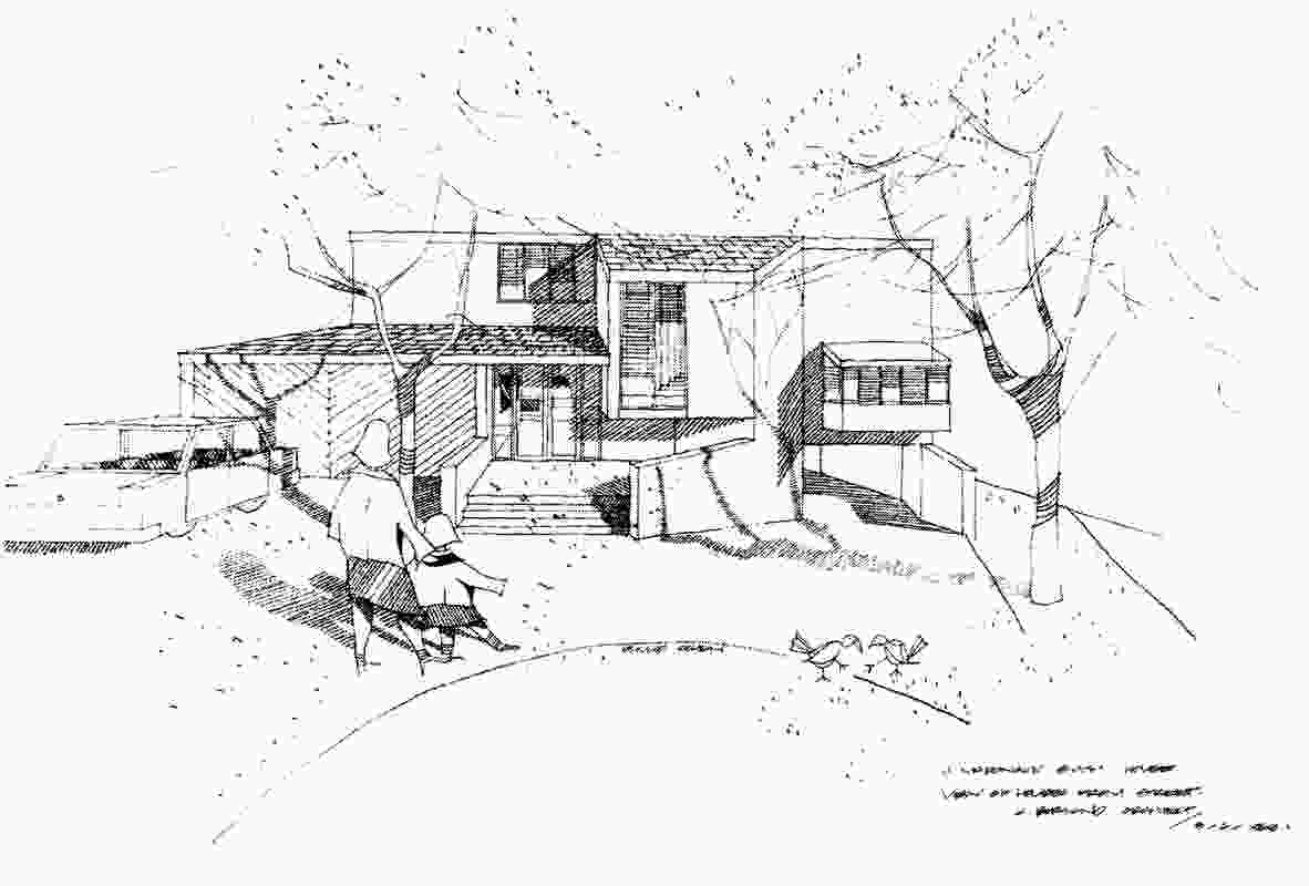 Sketch of the McDonald-Smith House by Phillip Cohen.
