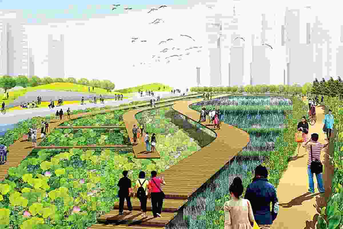 Render showing Qianhai as incorporating both water and vegetated open space.